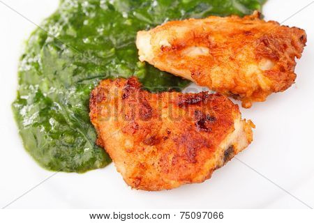 Fried Chicken Strips With Spinach