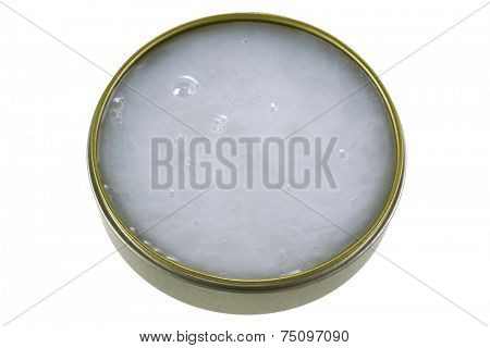 A jar of Mink Oil, to lubricate leather and preventing chapping and helps to waterproof leather