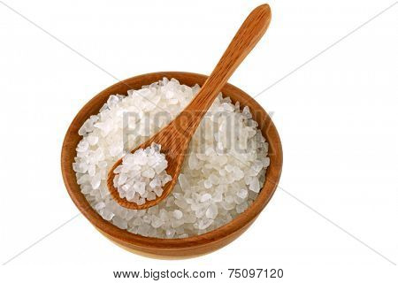 A bowl of Australian sea salt, isolated on white background