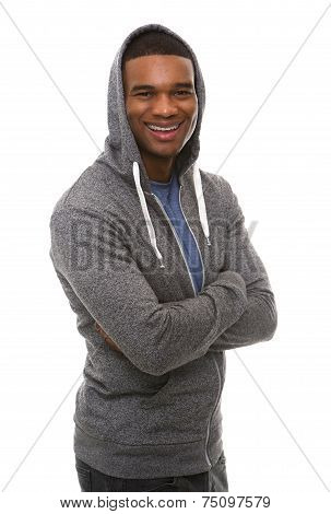 Cool Young Guy With Hooded Sweatshirt Smiling