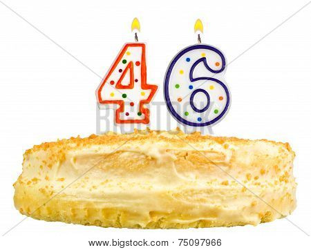 Birthday Cake Candles Number Forty Six Isolated