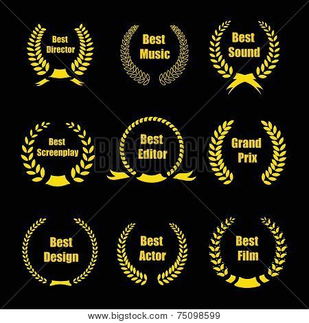 Vector Film Awards, gold award wreaths on black background