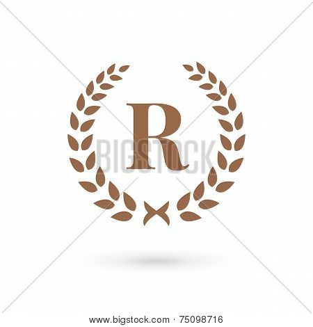Letter R Laurel Wreath Logo Icon Design Template Elements