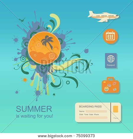 Flat design style modern vector illustration concept of planning a summer vacation