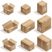 stock photo of isometric  - Set of nine isometric cardboard boxes isolated on white - JPG