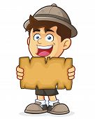 image of boy scout  - Vector clipart picture of a Boy Scout or Explorer Boy cartoon character Holding a Blank Map - JPG