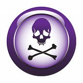 image of skull crossbones  - Abstract colorful button with skull shape and crossbones - JPG