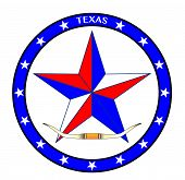image of texas star  - A texas red white and blue star with cattle horns - JPG