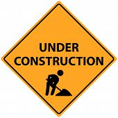 stock photo of road sign  - Illustration of a yellow Under Construction sign - JPG