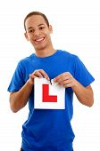 image of driving school  - Young teenager who has just sat a driving exam and is successful ripping L plate to celebrate - JPG