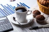 image of peppy  - business still life and cup of coffee with newspapers - JPG