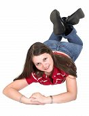 Cute Young Girl On The Floor poster
