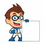 stock photo of heroes  - Vector picture of a hero cartoon character holding a blank sign - JPG