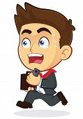 image of running-late  - Clipart Picture of a Running Male Businessman Cartoon Character - JPG