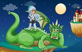 stock photo of knights  - illustration of a knight and a dragon - JPG