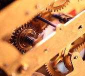 pic of wind up clock  - Close up of a internal clock mechanism