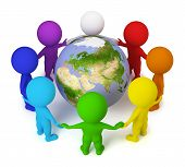 picture of joining hands  - 3d small people joined hands round the Earth - JPG