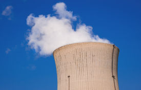 stock photo of reactor  - Steam from cooling hot water run in reactor core - JPG