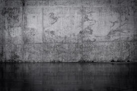 picture of wet  - Grungy dark concrete wall and wet floor - JPG