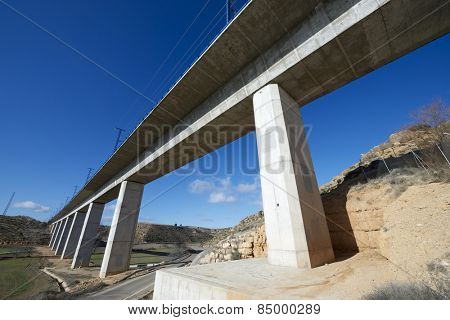 view of a high-speed viaduct in Alconchel de Ariza, Saragossa, Aragon, Spain. AVE Madrid Barcelona.
