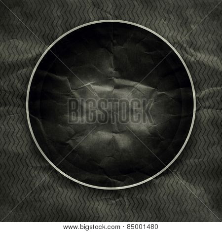 Old black round paper photo frame