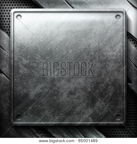Metal plate on cracked grid. Industrial construction