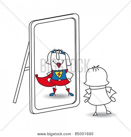 Karen super girl in the mirror. Karen looks in the mirror. She sees a super woman in the reflection. It's a metaphor of the power which is in each person