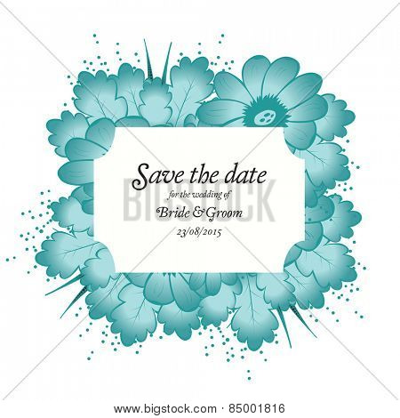 Wedding invitation cards with flowers and oak leaves