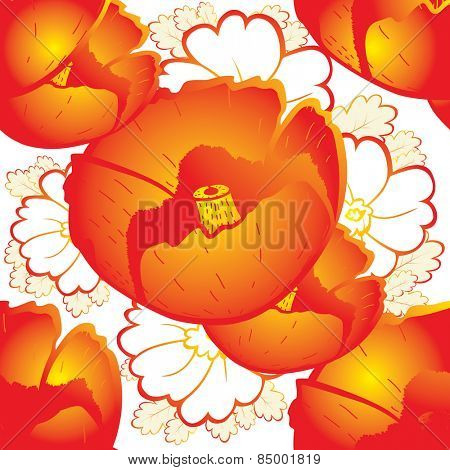 retro a background with red poppies and oak leaves Vector illustration