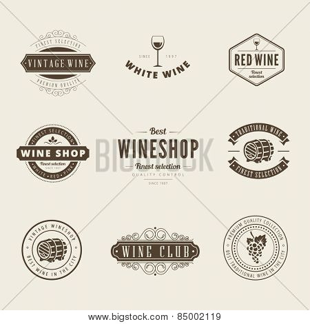 Wine Retro Vintage Labels Hipster Logo design vector typography lettering templates.  Old style elements, logos, logotypes, label, badges, stamps and symbols.