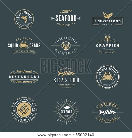 Seafood Hipster Logo design vector typography lettering templates. Retro Vintage Labels such as logos, logotypes, label, badges, stamps and symbols.