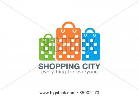 Shopping Mall Logo design vector template. Shopping Bags as Buildings silhouettes Logotype concept icon.