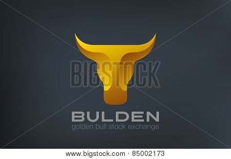 Golden Bull Head Logo design vector template. Stock Exchange strategy 3d logotype concept icon. Symbol of Power, Strength.