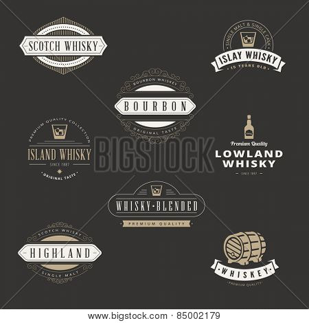 Whisky Hipster Logo design vector typography lettering templates. Bar Whiskey Retro Vintage Labels for Scotch, Bourbon.