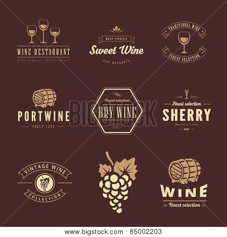 Wine Hipster Logo design vector typography lettering templates. Retro Vintage Labels such as logos Sherry, Sweet wine, Portwine, Table wine