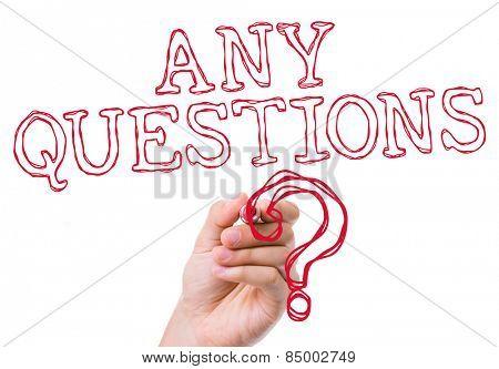 Any Questions written on wipe board