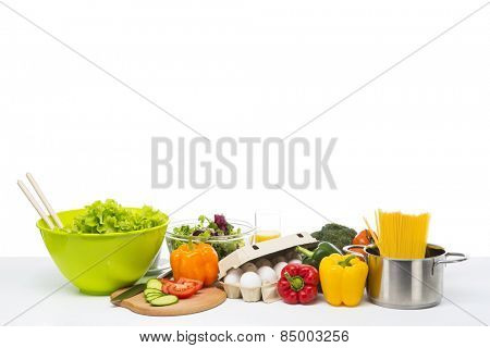Vegetarian foodstuff isolated on white. Healthy eating and dieting concept.