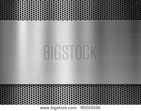steel or aluminum metal plate over grill industrial background