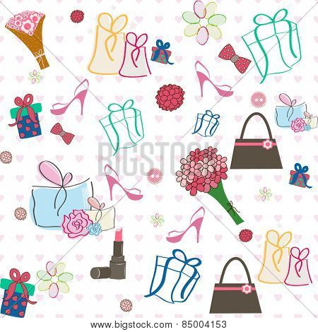 Beautiful pattern decorated with female accessories for International Women's day celebrations.