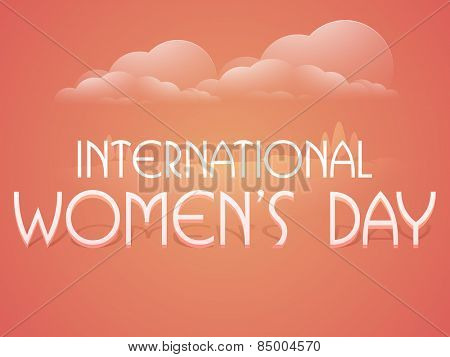 International Women's Day celebration poster or banner design on cloudy nature view background.