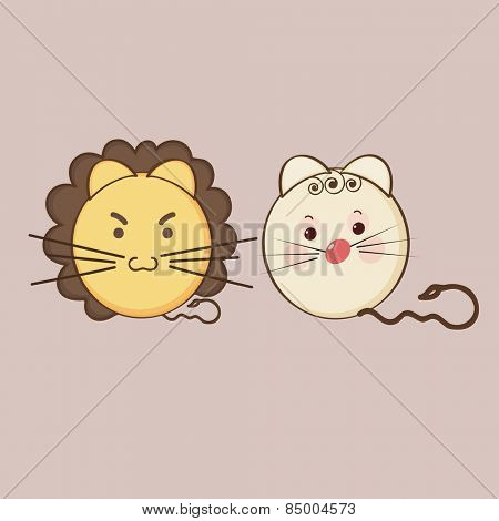 Cute expressions of angry lion and sad cat on brown background.