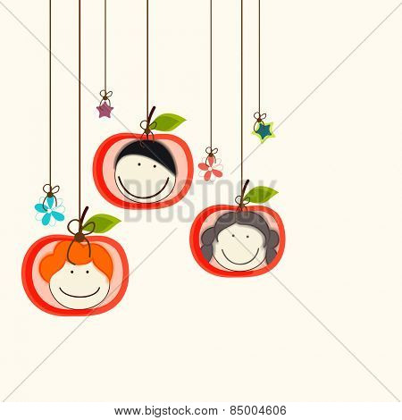 Beautiful hangings with smiling faces in apple shaped frame.