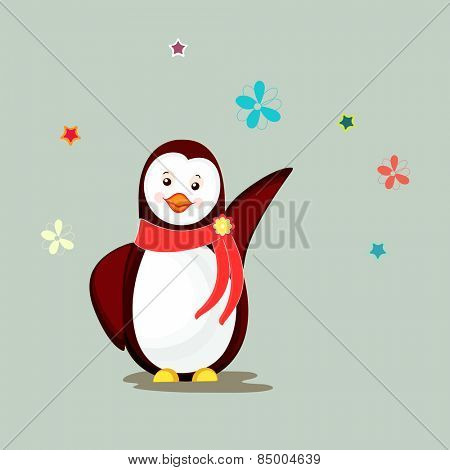 Cute little penguin wearing stylish red scarf on flowers and stars decorated background.