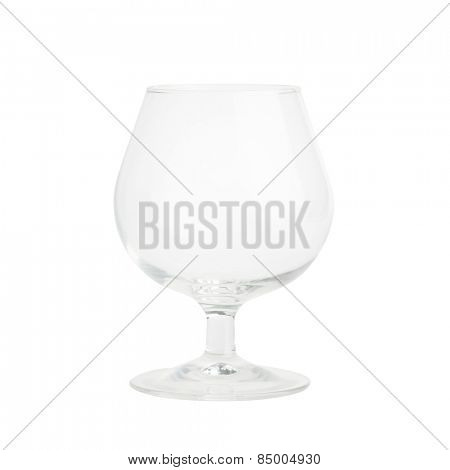 Isolated Single empty brandy glass on white background