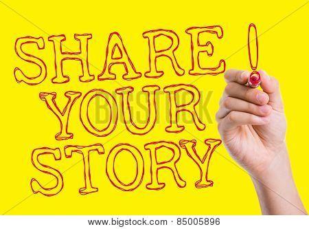 Share Your Story written on wipe board