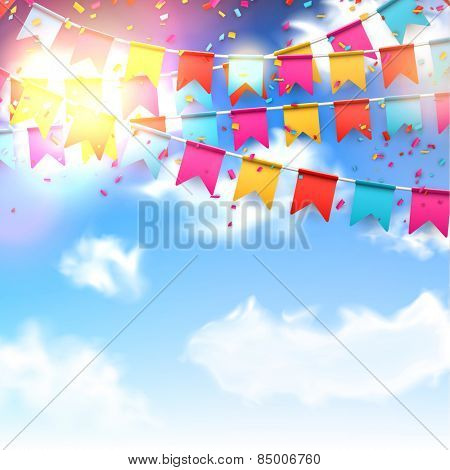 Celebrate banner. Party flags with confetti over blue sky. Vector illustration.