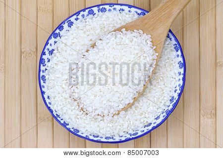 Closeup photo of a bowl filled with short grain Japanese Rice