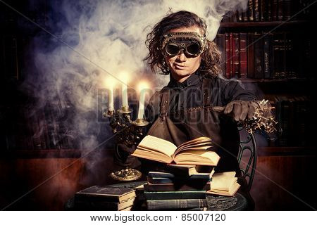 Portrait of a man steampunk in his research laboratory. Fantasy.