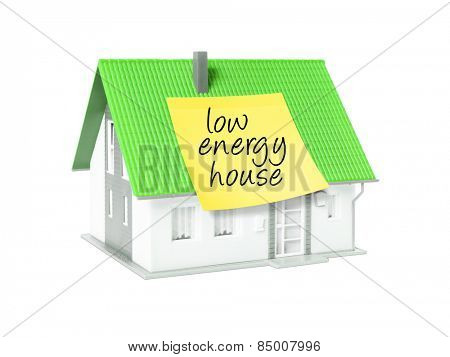 An image of a nice model house with a text low energy house