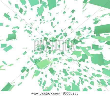 Green confetti on white background. Slight motion blur. no depth.